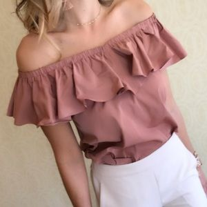 Express ruffle off the shoulder dusty rose top